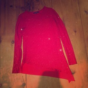 Fancy sparkle red date night dress with hubby